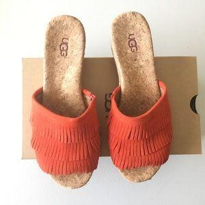 UGG Red-Orange Kendra Fringe Wedge Sandal
